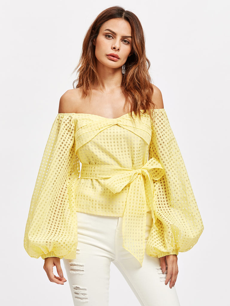 RZX Bow Off Shoulder Lantern Sleeve Belted Checkered Mesh Top