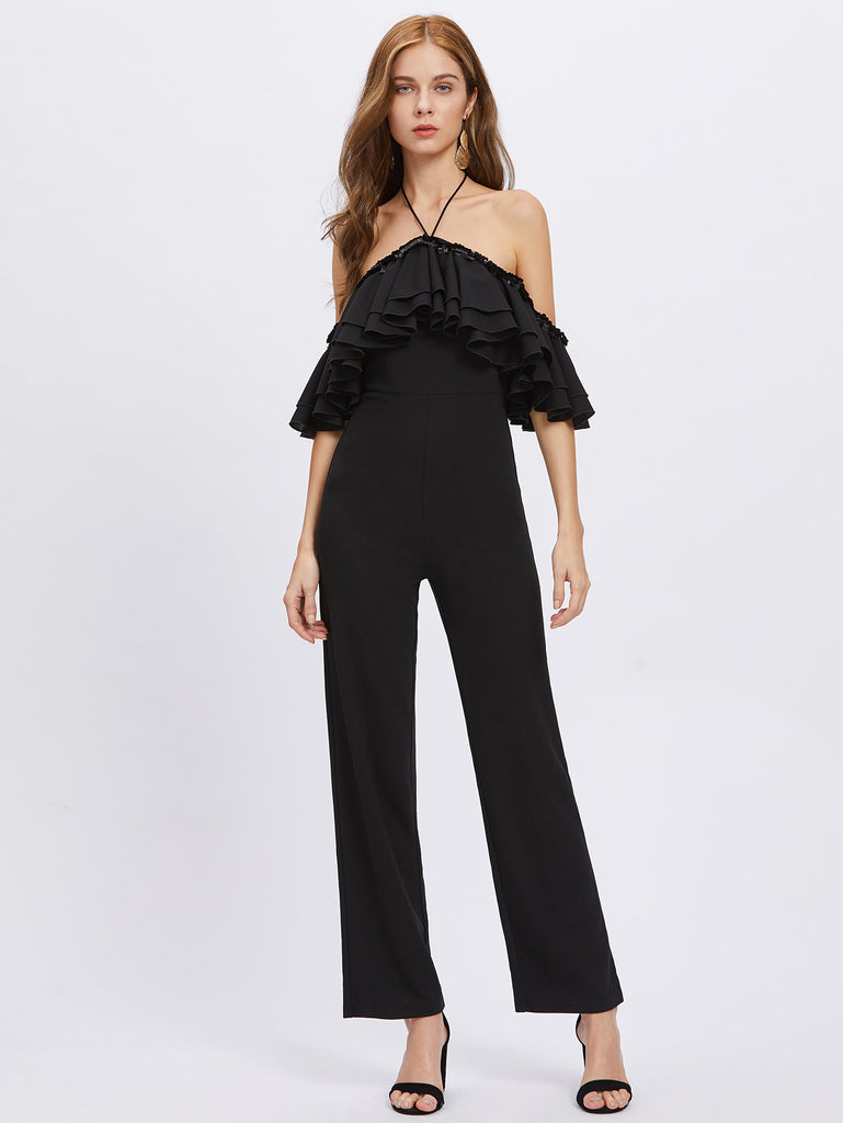 Sequin Detail Layered Flounce Trim Halter Jumpsuit