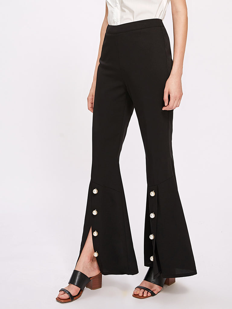 Pearl Button Detail Flare Pants