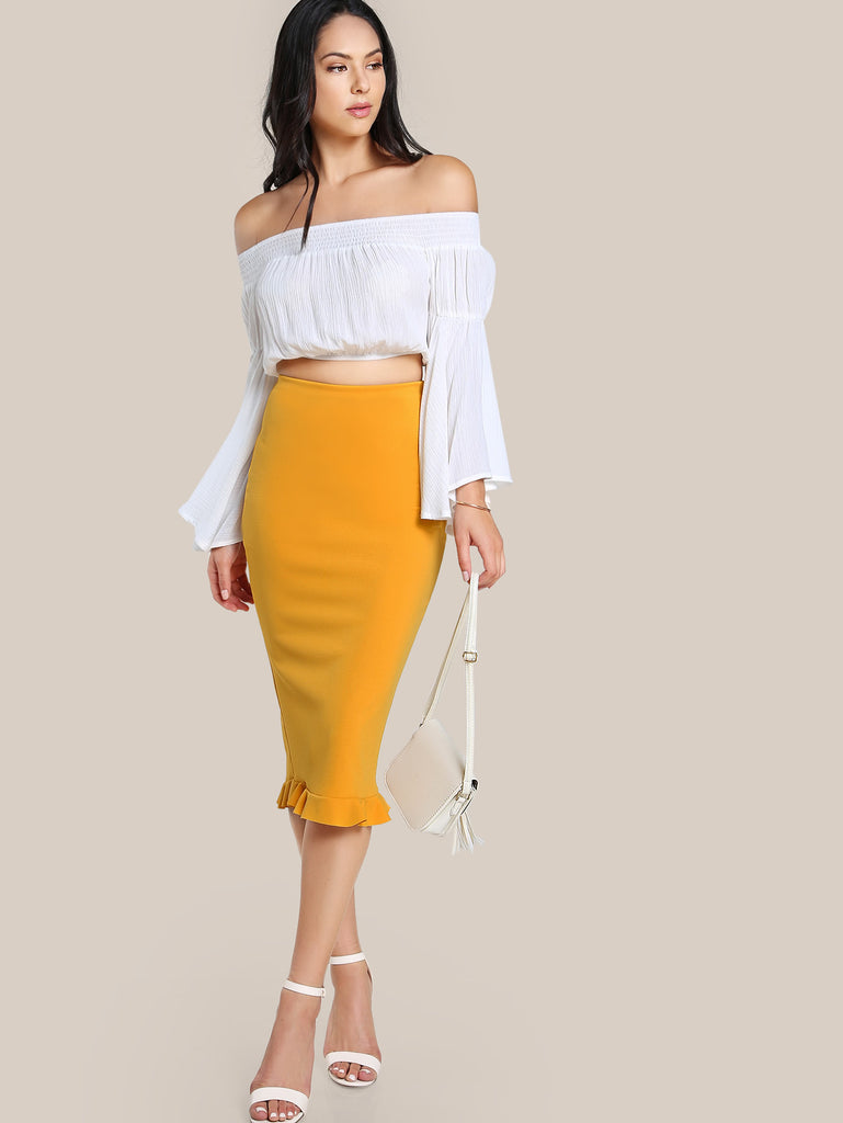 RZX Split Ruffle Hem Pencil Skirt