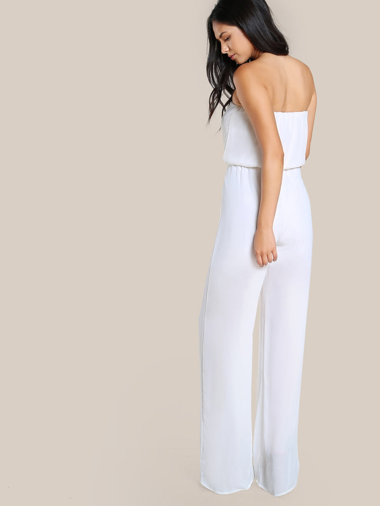 RZX Strapless Solid Blossom Jumpsuit
