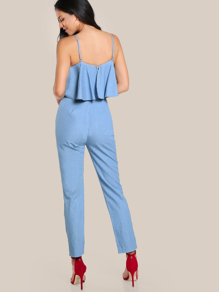 RZX Self Belt Rose Patch Flounce Jumpsuit