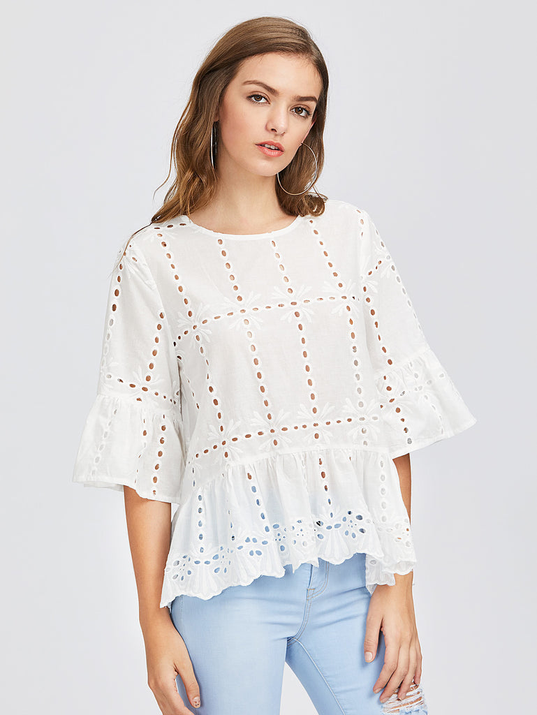 Fluted Sleeve Eyelet Embroidered Top