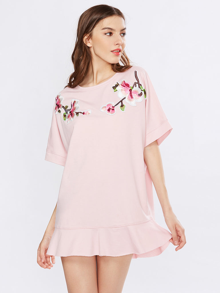 Flower Blossom Patch Frill Hem Tee Dress