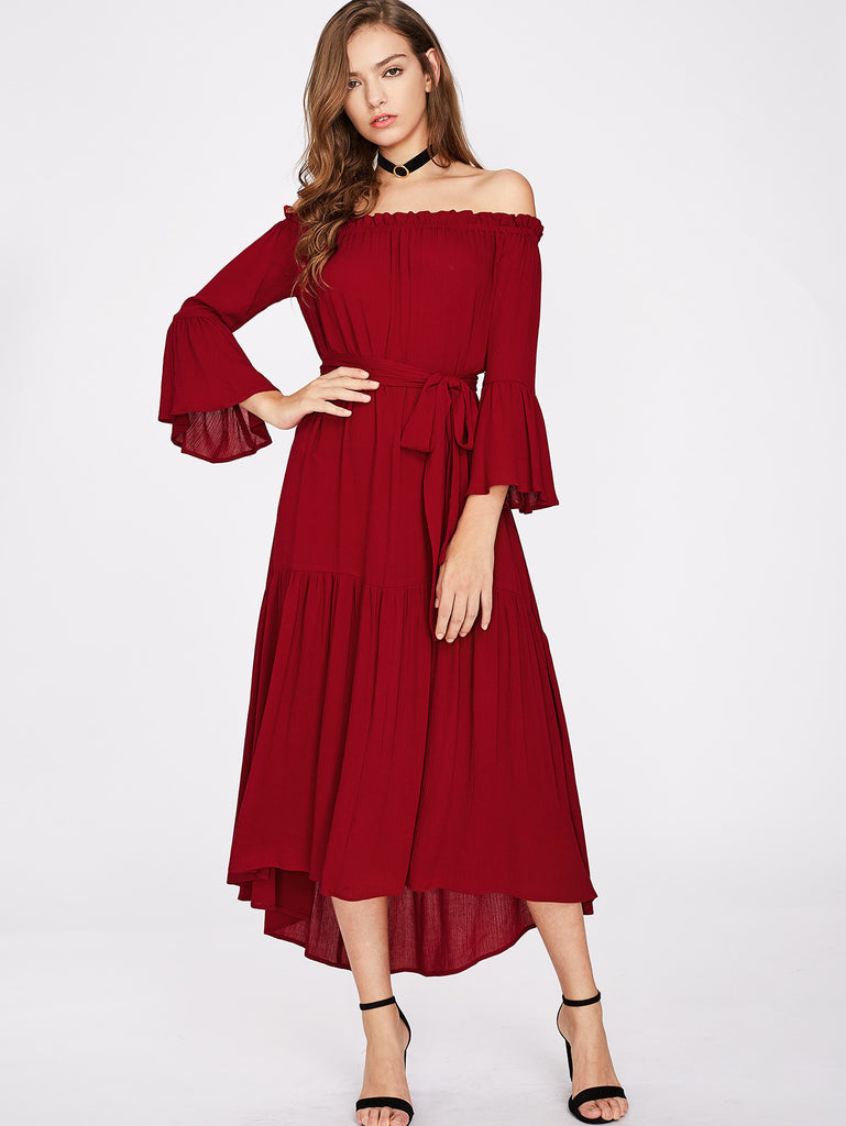 Self Tie Fluted Sleeve Tiered Bardot Dress
