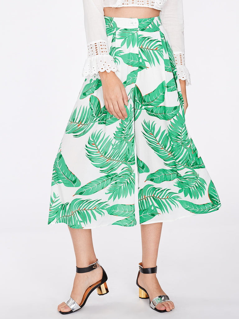 Jungle Leaf Print Fold Pleat Culotte Pants