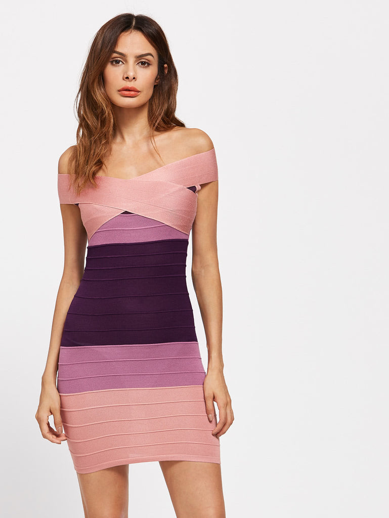 RZX Bardot Cross Front Ombre Bandage Dress