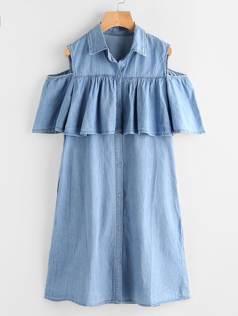Open Shoulder Frill Chambray Shirt Dress