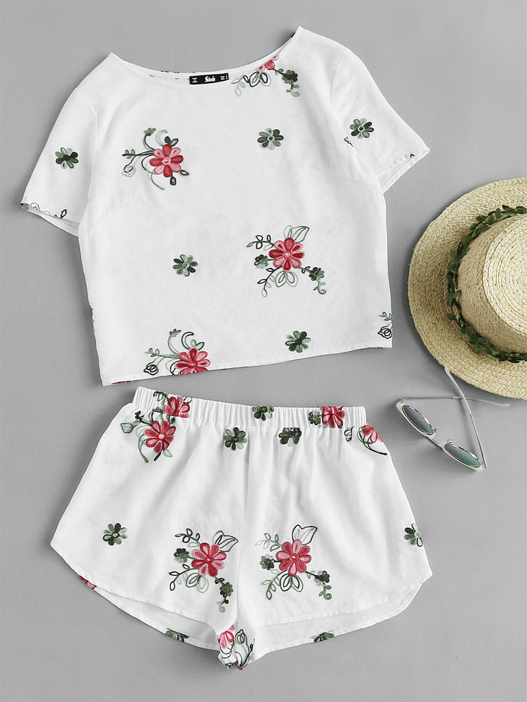 Flower Embroidered Top And Shorts Pajama Set