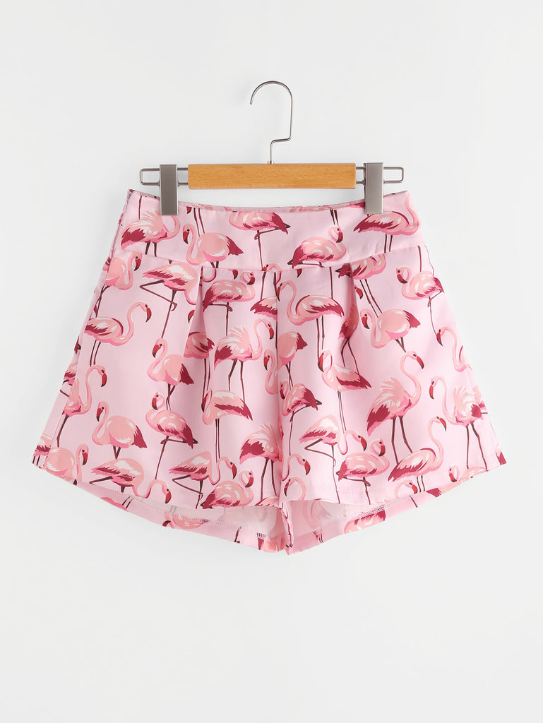 RZX  Flamingo Print Zipper Side Shorts