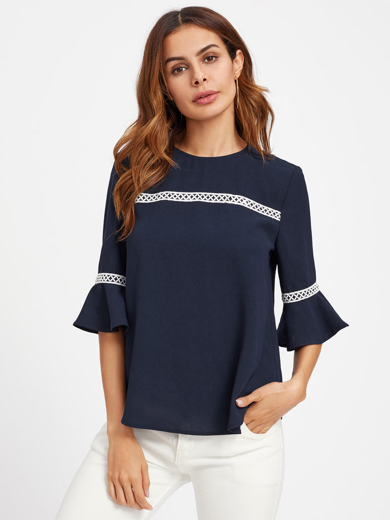RZX Crochet Detail Fluted Sleeve Blouse