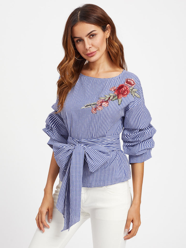 RZX Gathered Sleeve Embroidered Applique Belted Gingham Top