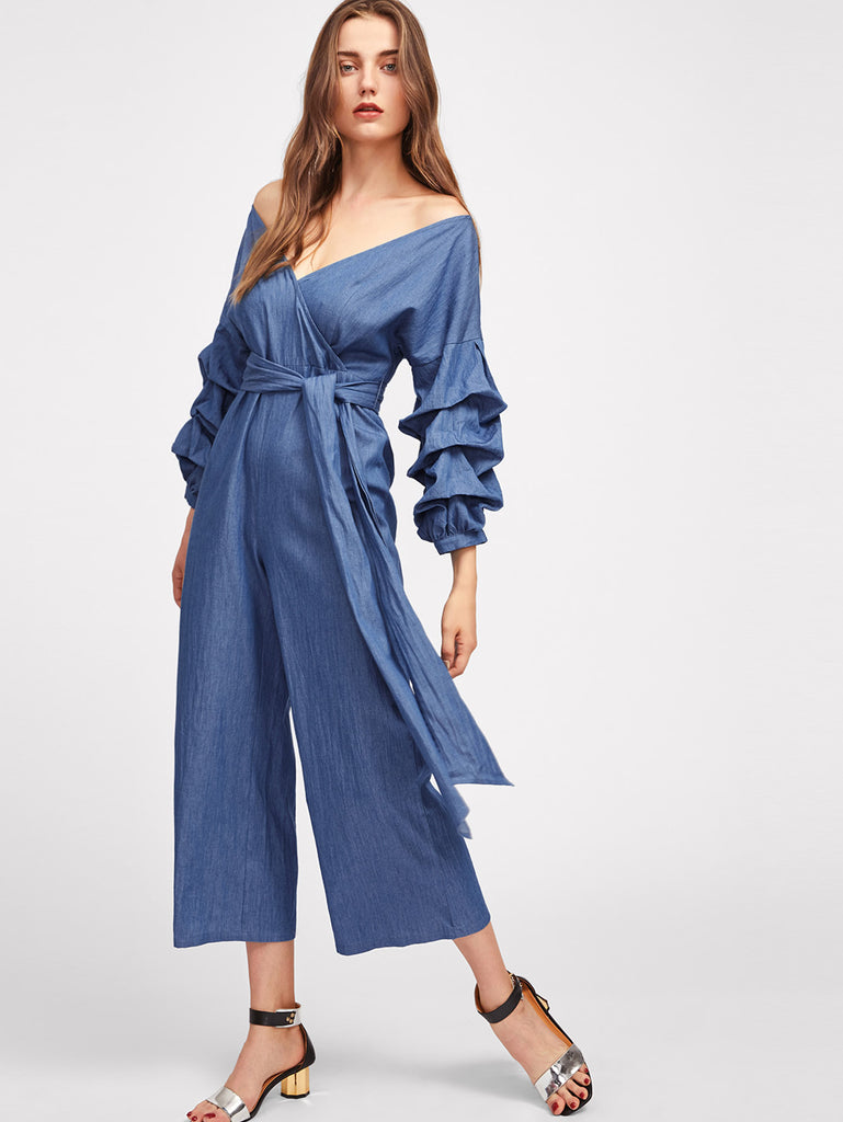 Gathered Sleeve Sash Tie Surplice Wrap Chambray Culotte Jumpsuit