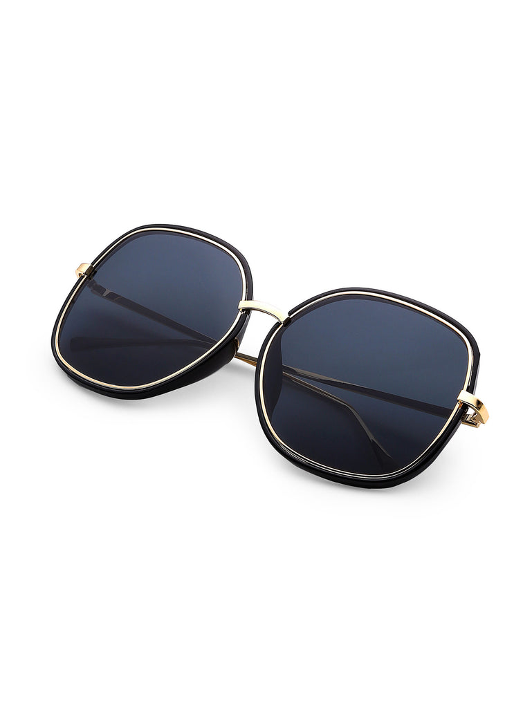 RZX Contrast Trim Oversized Sunglasses