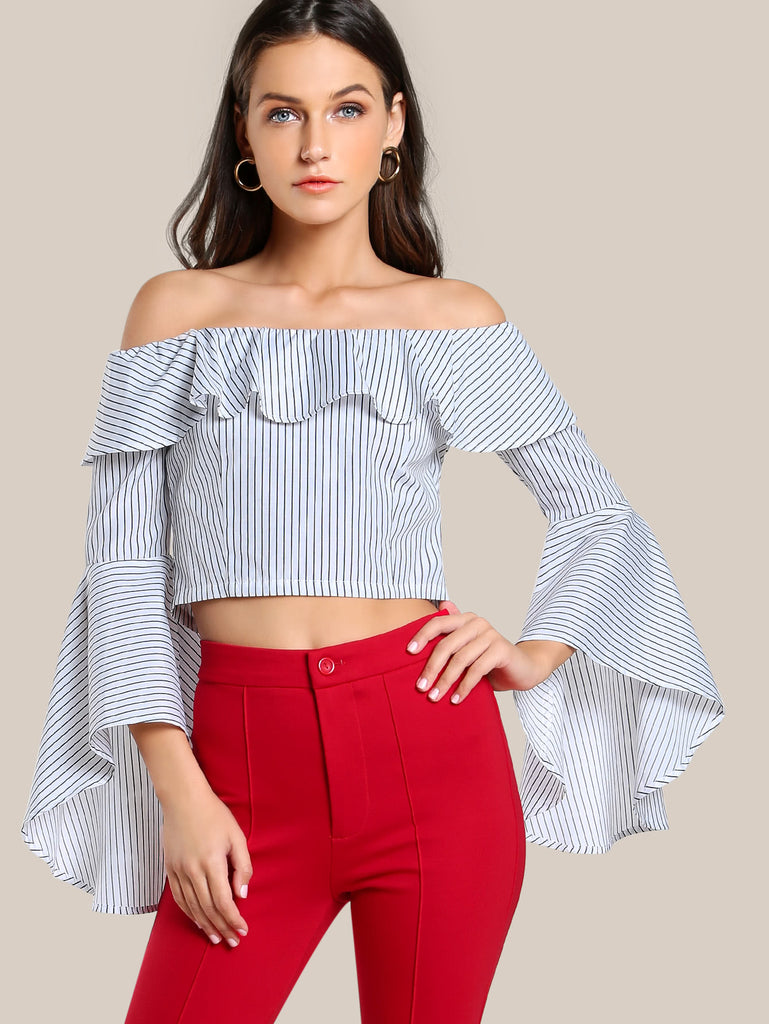 RZX Exaggerate Fluted Sleeve Frill Bardot Top