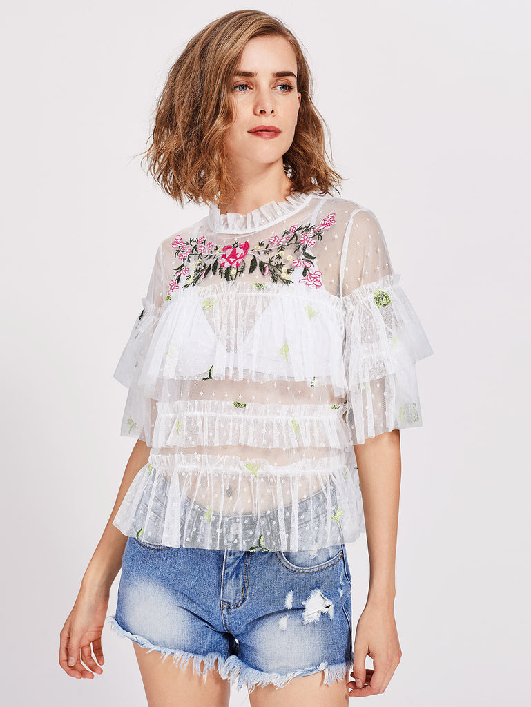 RZX Flower Embroidered Frilled Debby Mesh Top
