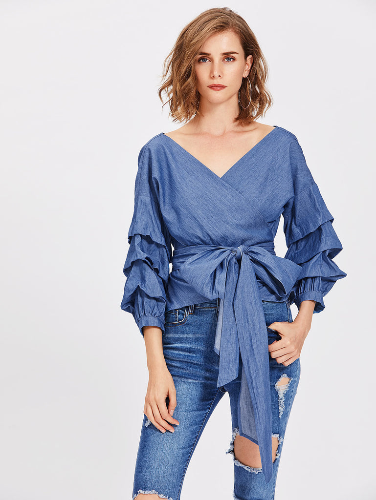 RZX Gathered Sleeve Surplice Wrap Chambray Top