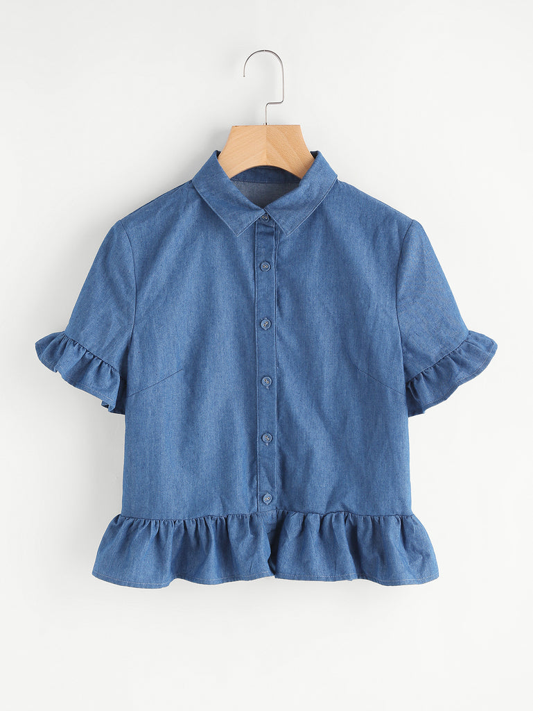 Frill Detail Chambray Blouse