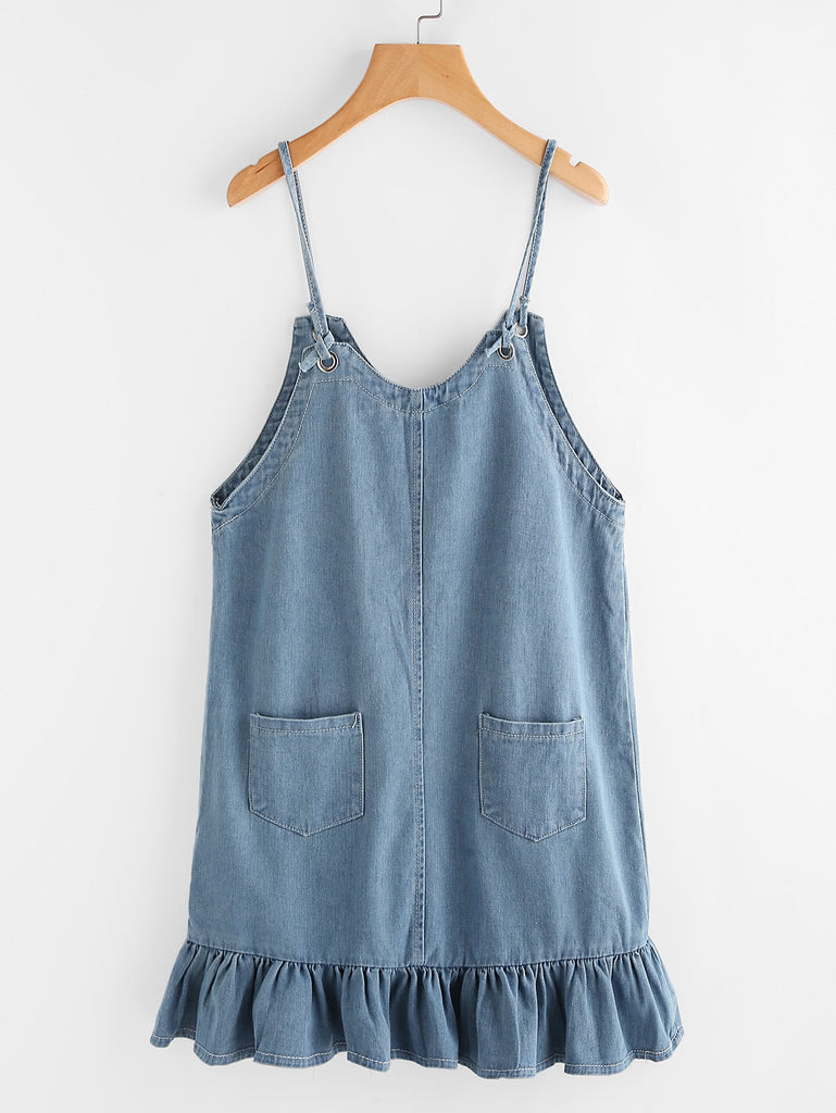 Frill Hem Chambray Cami Dress