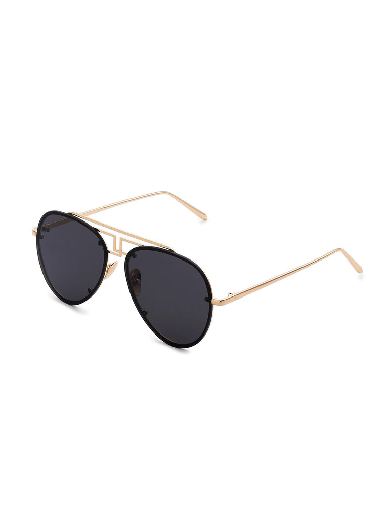 Asymmetrical Top Bar Rimless Sunglasses