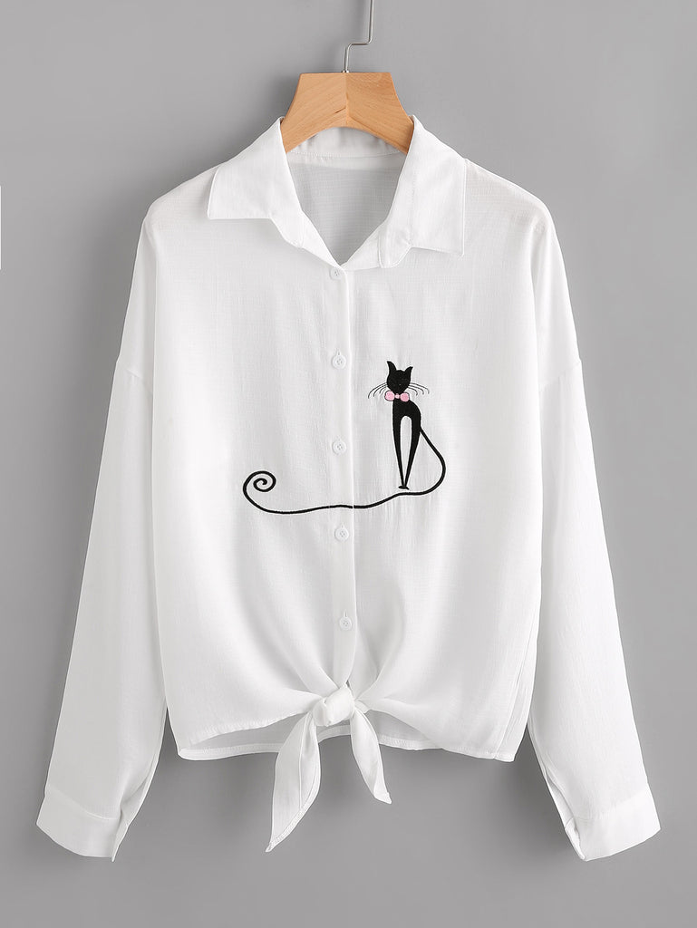 Drop Shoulder Cat Embroidered Knotted Hem Shirt
