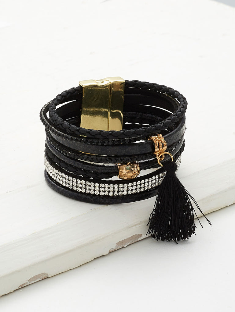 RZX Tassel And Rhinestone Detail Layered Bracelet