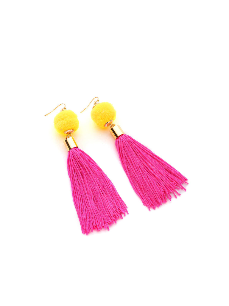 Pom Pom And Tassel Design Drop Earrings