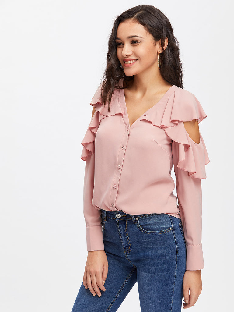 RZX Button Up Flounce Trim Cut Out Shoulder Blouse