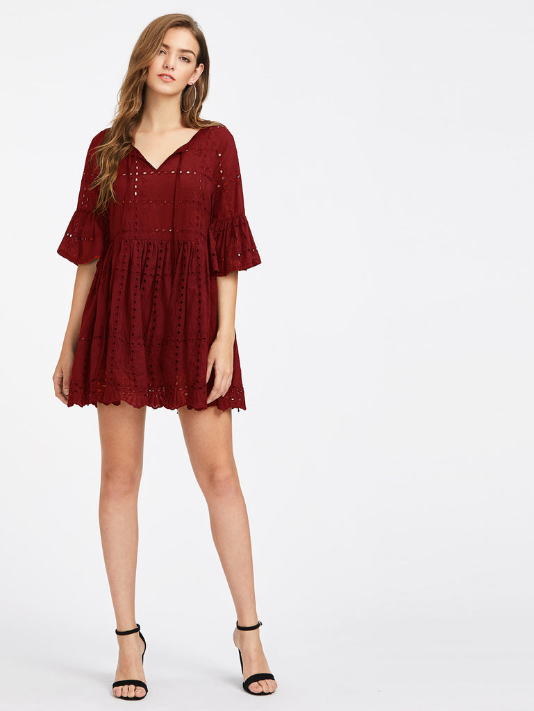 RZX Tie Neck Fluted Sleeve Eyelet Embroidered Smock Dress
