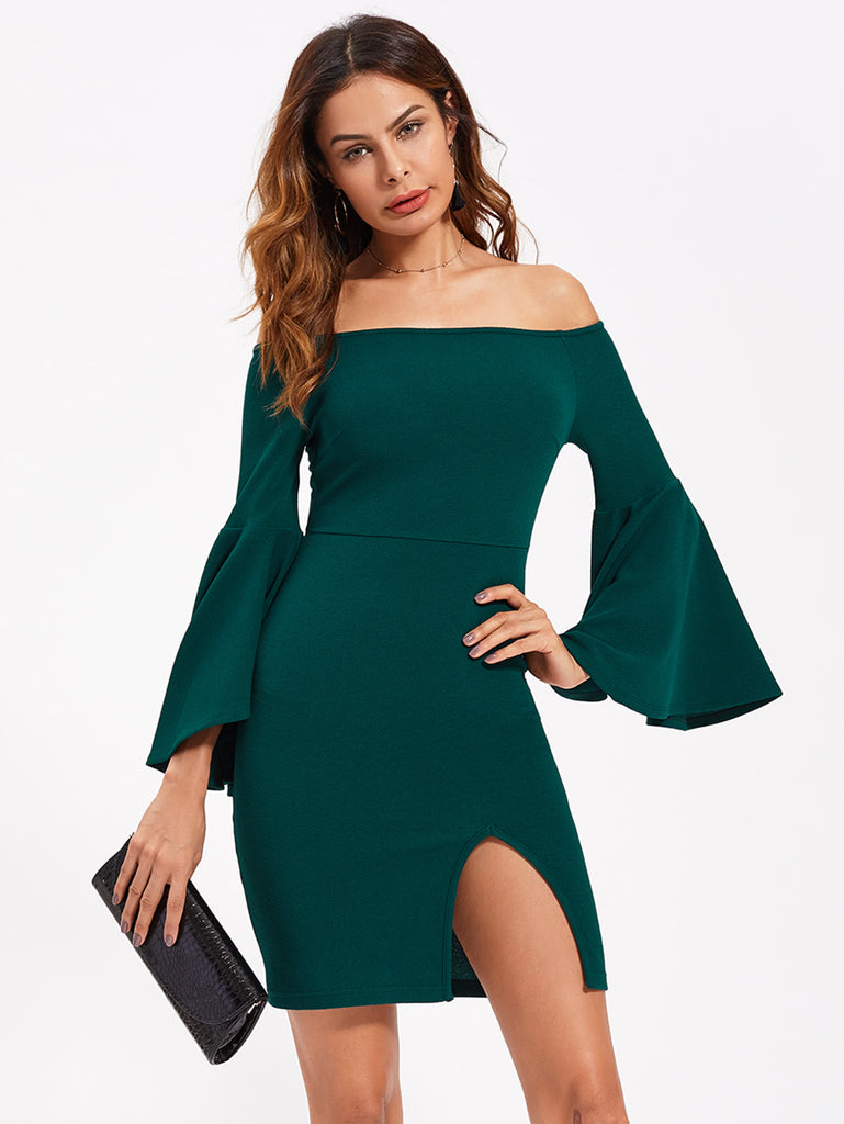 Exaggerate Trumpet Sleeve Slit Bardot Dress