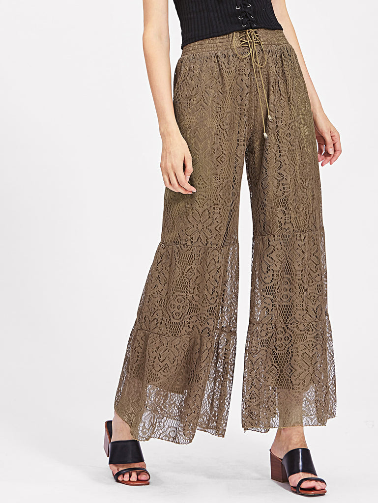 Lace Up Smocked Waist Tiered Lace Pants
