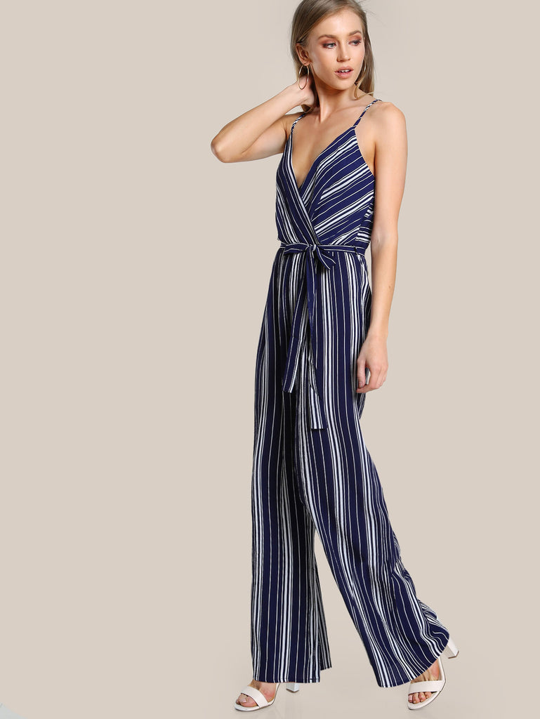 RZX Surplice Front Self Belt Wide Leg Cami Jumpsuit