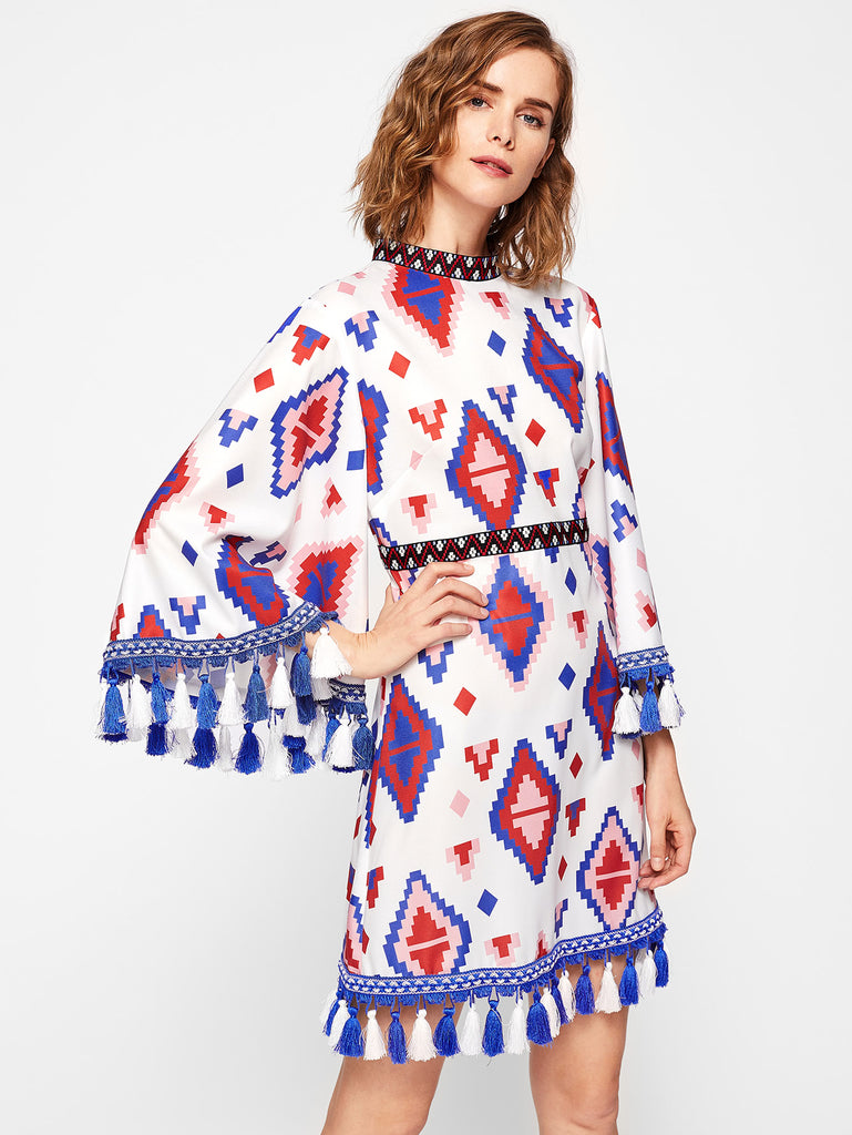 RZX  Embroidery Tape And Tassel Detail Exaggerate Sleeve Dress