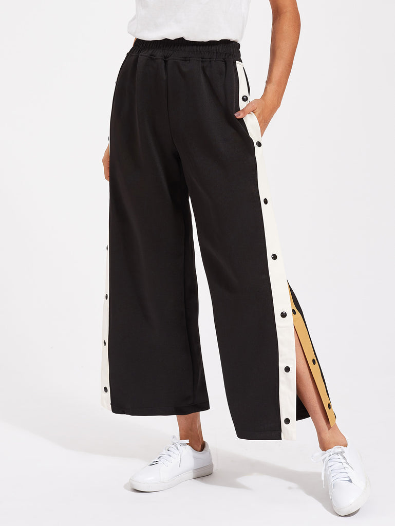 Contrast Snap Button Side Culotte Pants