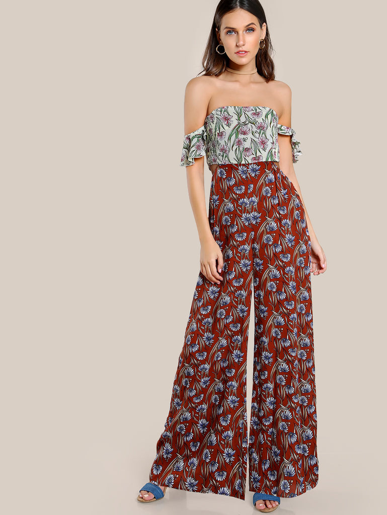 RZX Cutout Side Smocked Back Palazzo Jumpsuit