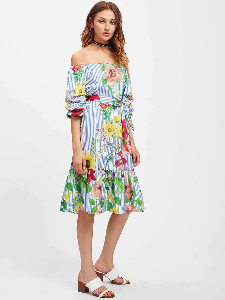 RZX Bardot Self Tie Frill Hem Botanical Print Dress