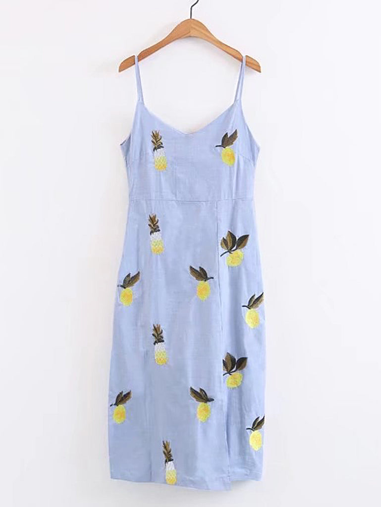 Fruit Embroidery Cami Dress