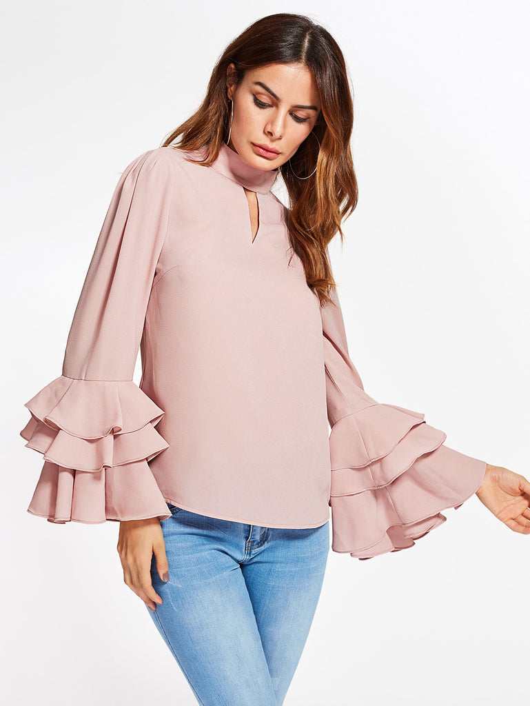 RZX Exaggerate Bell Sleeve Keyhole High Neck Top