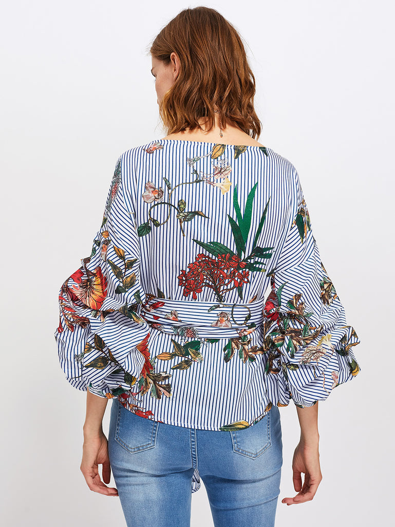 RZX Gathered Sleeve Mixed Print Surplice Wrap Top