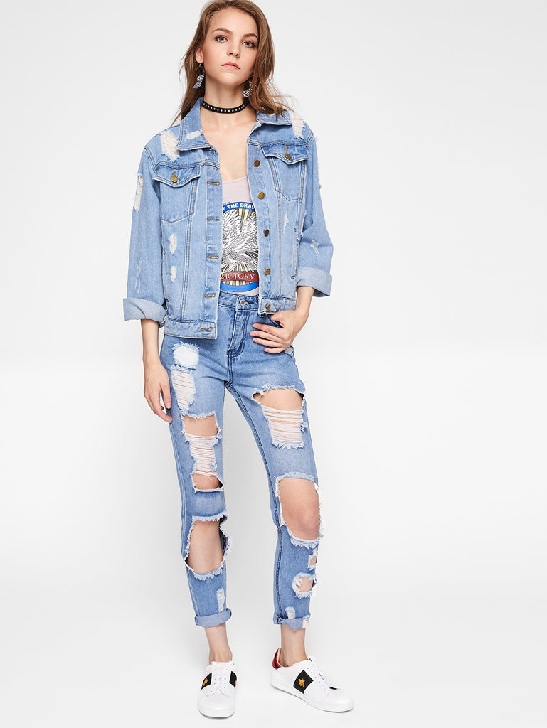 RZX Faded Wash Shredded Denim Jacket