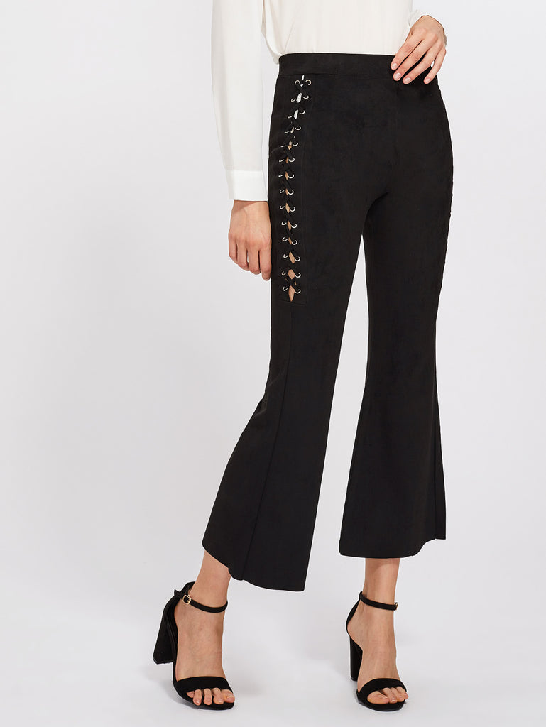Eyelet Lace Up Flare Pants