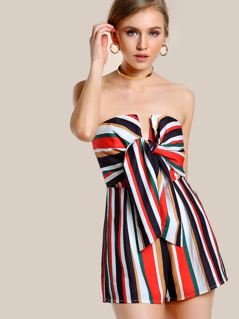 RZX Tie Front Striped Tube Romper