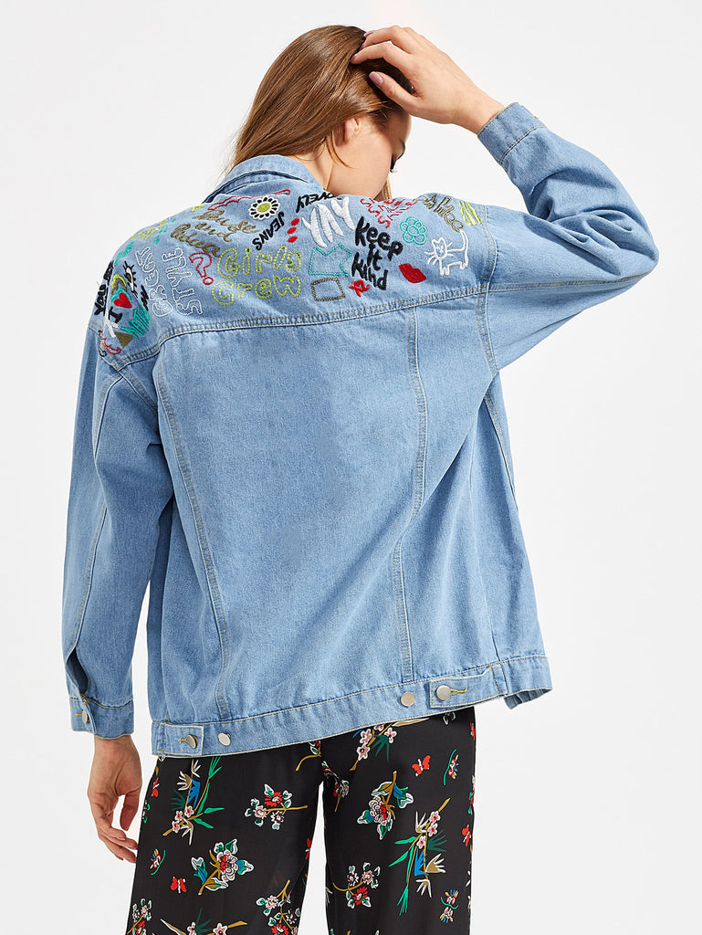 Graffiti Embroidered Back Drop Shoulder Denim Jacket