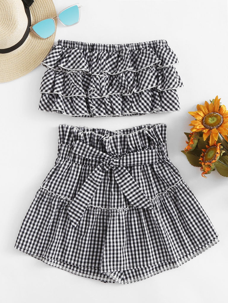 Tiered Frill Gingham Bandeau Top With Shorts