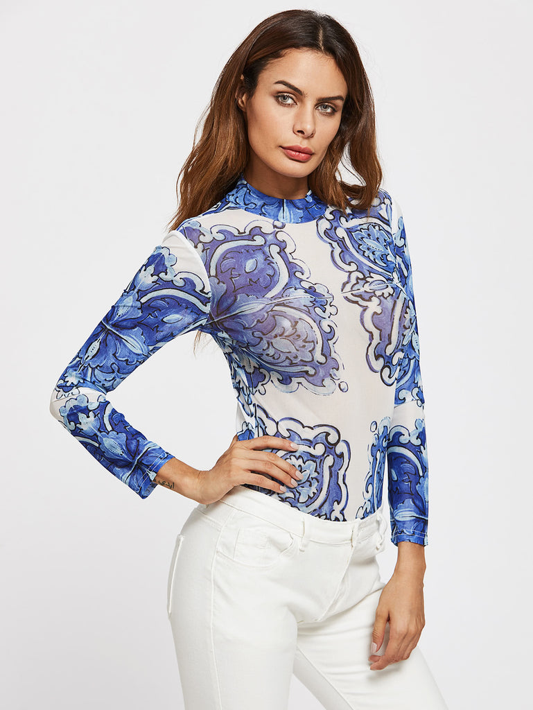 Porcelain Print Mock Neck Bodysuit