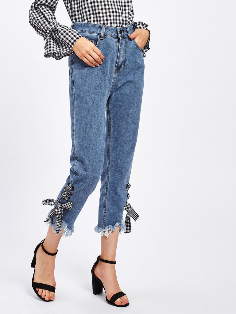 Eyelet Lace Up Gingham Tie Raw Hem Jeans