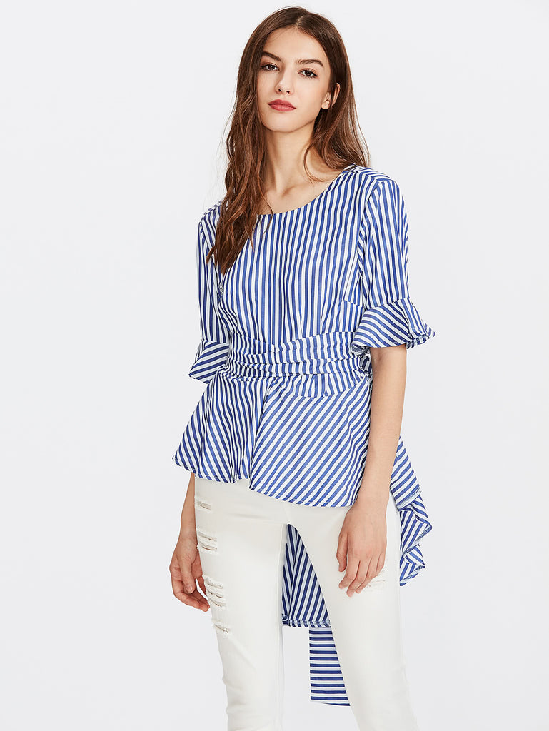 RZX Contrast Striped Bow Tie Back Frill Blouse