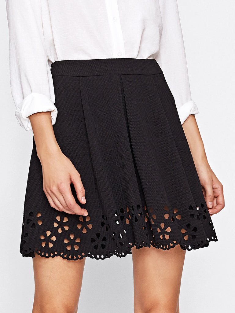 Scallop Laser Cut Boxed Pleat Skirt