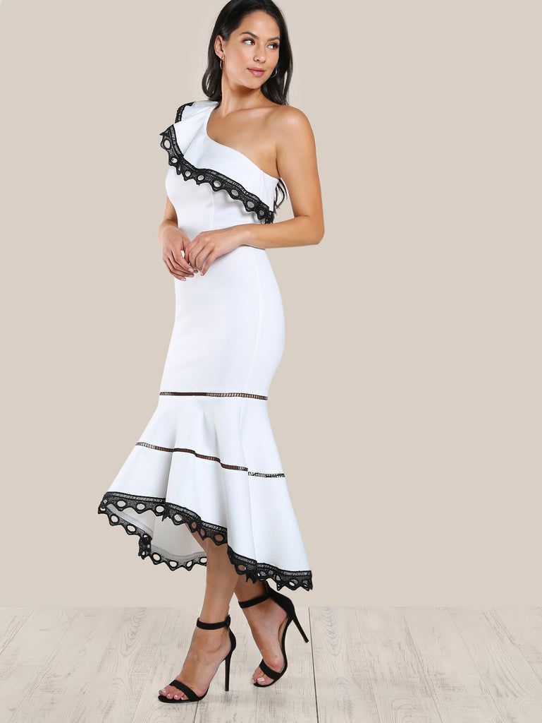 RZX Ladder Lace Insert Frill One Shoulder Fishtail Dress