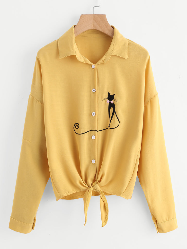 RZX Drop Shoulder Cat Embroidered Knotted Hem Shirt